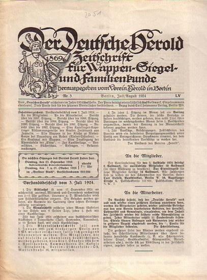 Verein Herold (Hrsg). - G. Adolf Closs. - Der Deutsche Herold. Zeitschrift für Wappen-, Siegel- und Familienkunde. Nr. 3.; Juli / August 1924 LV. Jahrgang.