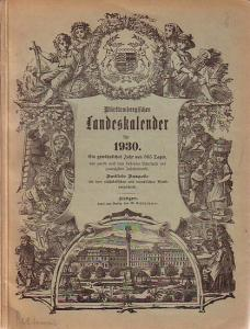 Württemberg, Kalender für das Königreich. - Württembergischer Landeskalender für 1930.