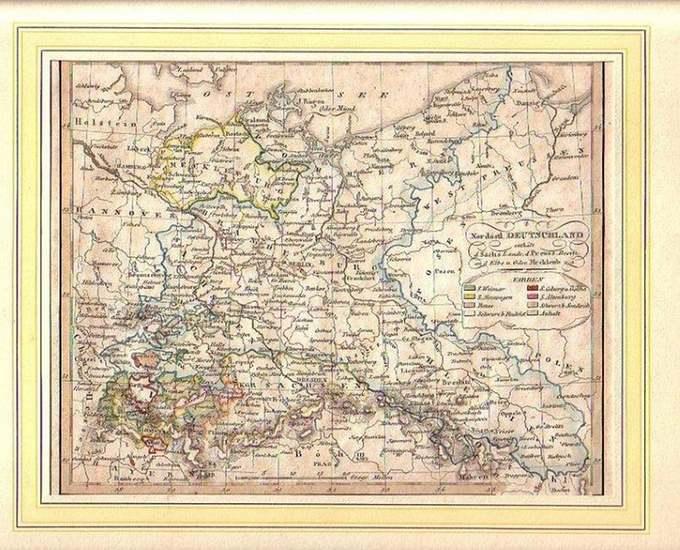 Deutschland. - Landkarte: Nordöstliches Deutschland enthält die Sächsischen Lande, den Preuss. Besitz, an der Elbe und Oder, Mecklenburg u.a. Blatt XII.