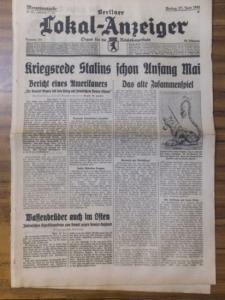 48 x 31 cm. Originalzeitung. 4 Blatt mit Tagesmeldungen, Abbildungen und Inseraten. Mittig quer geknickt. Gut.