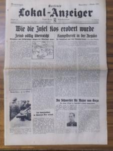 48 x 31 cm. Originalzeitung. 3 Blatt mit Tagesmeldungen, Karten und Fotos. Mittig quer geknickt. Guter Zustand.