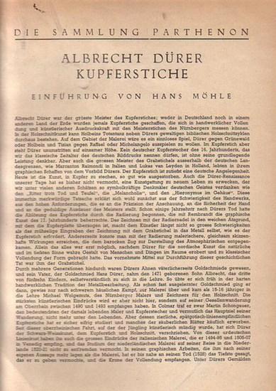 Dürer, Albrecht. - Die Sammlung Parthenon. Albrecht Dürer. Kupferstiche.