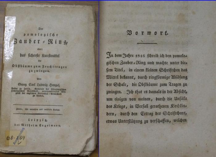 Hempel, Georg Carl Ludwig: Der pomologische Zauber-Ring, oder: das sicherste Kunstmittel die Obstbäume zum Fruchttragen zu zwingen.