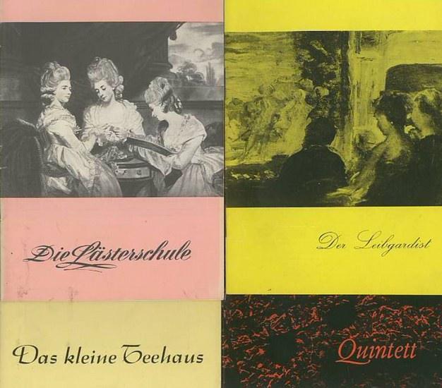 """Berlin- Renaissancetheater- Kurt Raeck - Intendanz- (Hrsg.) Der Leibgardist von Franz Molnar ; """"Quintett"""" von Harry Lockhart ; """"Die Lästerschule"""" von Wolfgang Hildesheimer ; """"Das kleine Teehaus"""" von John Patrick. Programmh..."""
