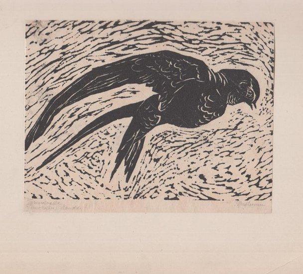Hartmann, F.: Original Holzschnitt Handdruck. 'Turmschwalbe.' Signiert.