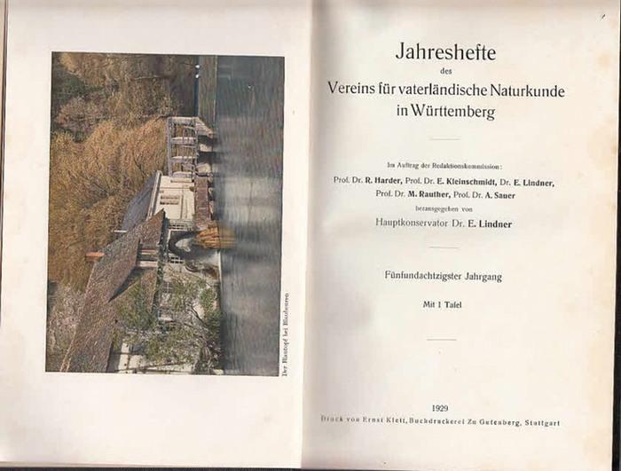Jahreshefte Verein für vaterländischer Naturkunde in Würtemberg. - E. Lindner (Hrsg.). - K. Bertsch / W.O. Dietrich / M. Frank / J. Hanemann / G. Heckel / H. Klaehn / E. Köpf / W. Kreh / P. Lackschewitz / H. Sihler / A. von der Trappen / R. Vogel / H. ...