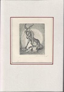 Witt, Jens: Der grüne Esel. Später überbearbeitete Bauchpartie des Esels. - Original-Radierung Probeabzug Nr.1 mit scharfem Plattenpreßrand (Nicht in den Zyklus der 7 Radierungen des Buches aufgenommen).