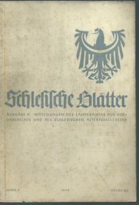 Schlesien. - Geschwendt, Fritz (Herausgeber): Schlesische Blätter (Altschlesische Blätter). Ausgabe B. Mitteilungen des Landesamtes für Vorgeschichte und des schlesischen Altertumsvereins. Jahrgang 4, Folge 2/3, Mai 1942.