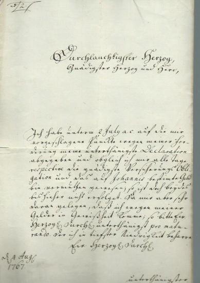 Wunderlich, Nicolaus: Handschriftlicher Brief von Nicolaus Wunderlich an einen Herzog, der namentlich nicht genannt wird, betreffend eine Zahlungsaufforderung nach Schulverschreibung.