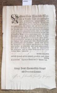 34 x 22 cm. 1 Blatt mit Initiale. Im vorgedruckten Text wurden handschriftliche Einträge mit alter Tinte vorgenommen (Herr Landrat von Briest). Am linken Rand wenig beschnitten. Gut erhalten.