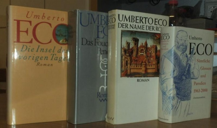 Eco, Umberto: Konvolut mit 6 Titeln, enthalten sind: 1) Der Name der Rose. 2) Das Foucaultsche Pendel. 3) Die Insel des vorigen Tages. 4) Sämtliche Glossen und Parodien 1963 - 2000. 5) Einführung in die Semiotik. 6) Baudolino - Roman.