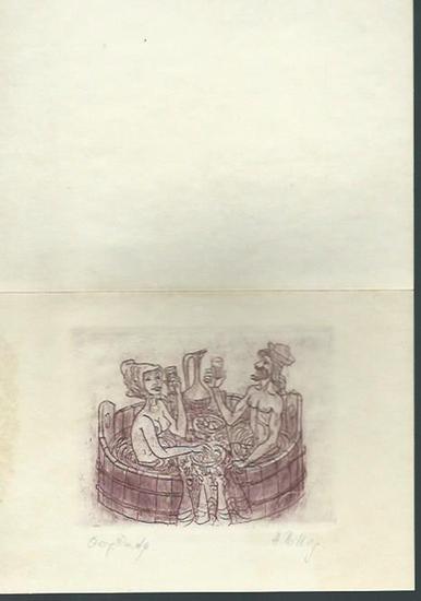 Billig, Harry: Original Radierung von Harry Billig. Motiv: 2 im Bottich trinkende Badende.