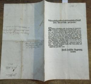Fürstlich Hessische Regierung. - Edict darüber, wie Kirchmessen zu halten sind. Cassel den 14ten Nov. 1767. Fürstlich Hessische Regierung hierselbst.