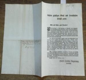 Fürstlich Hessische Regierung. - Erlass zur Vieh - Seuche. - Edict über Viehseuche. Cassel den 27ten März 1787. Fürstlich Hessische Regierung hierselbst.