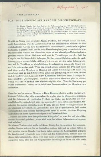 Timmler, Marcus: ECA - Die Einigung Afrikas über die Wirtschaft. [Sonderdruck aus 'Außenpolitik', 5 / 1965]. 0