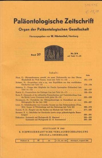 Paläontologische Zeitschrift. - Häntzschel, W. (Hrsg.). - G. Haas / H. Schmidt / E. Szörenyi / G. Rabitz / P. Kaye / H. Hiltermann / O. Linck / H.D. Kahlke / R.A. Reyment / R. Mertens / O.H. Schindwolf: Paläontologische Zeitschrift. Band 37, Nr. 3/4 mi... 0