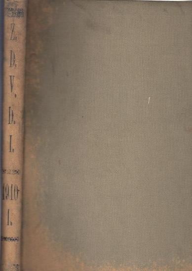 Zeitschrift Verein Deutscher Ingenieure (VDI) (Hrsg): Zeitschrift des Vereines Deutscher Ingenieure. Band 54, 1910. Enthalten sind die Nr. 1, vom 1. Januar 1910 - Nr. 8 vom 19. Februar 1910. (Rückentitel Z.D.V.D.I. 1910 - 1.) 0