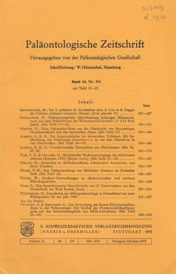 Paläontologische Zeitschrift. - Häntzschel, W. (Hrsg.). - M. Septonfontaine / M. Schidlowski / R. Förster / G.K.B. Alberti / F.D. Flor / G. Hillmer / H. Hölder / F.-W. Haake / W. Wetzel / G. Haas / H. Hiltermann / D. Fütterer / C. Samtleben: Paläontolo... 0