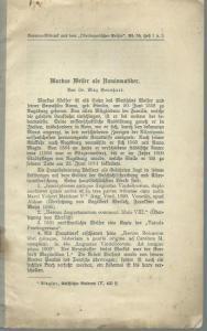 Welser, Markus. - Bernhart, Max: Markus Welser als Numismatiker. Separat-Abdruck aus dem 'Oberbayerischen Archiv', Band 55, Heft 1 und 2.
