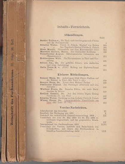Ferdinandeum. - Tirol. - Vorarlberg. - Zeitschrift des Ferdinandeums für Tirol und Vorarlberg. Dritte Folge, (36.) sechsunddreissigstes Heft. Herausgegeben von dem Verwaltungs-Ausschusse desselben.