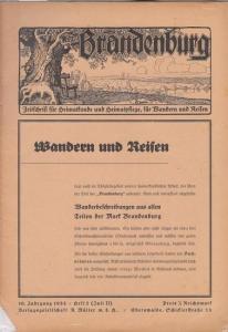 Brandenburg - Schmidt, Rudolf (Hrsg.) - Rudolf Schmidt / Gerhard Wiesner / Gerhard Rudolph / Willi Borchert / Alfred-Ingemar Berndt / Ernst von Schönfeldt-Werben (Autoren): Brandenburg. 10. Jahrgang 1933 / Heft 2 ( Juli II ). Zeitschrift für Heimatkund...