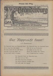 Brandenburg - Schmidt, Rudolf (Hrsg.) - B. Masche / Rudolf Schmidt / Th. Vaternahm / Hermann Kügler / H. Spremberg (Autoren): Brandenburg. 6. Jahrgang (1928) - Heft 23 ( 5. Dezember 1928 ). Zeitschrift für Heimatkunde und Heimatpflege. Inhalt: B. Masch...