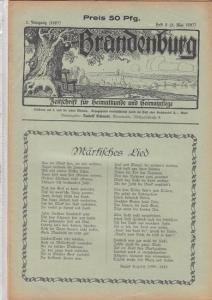 Brandenburg - Schmidt, Rudolf (Hrsg.) - August Kopisch / Rudolf Schmidt / Karl Blankenfeld (Autoren): Brandenburg. 5. Jahrgang (1927) - Heft 9 ( 5. Mai 1927 ). Zeitschrift für Heimatkunde und Heimatpflege. Inhalt: August Kopisch - Märkisches Lied / Rud...
