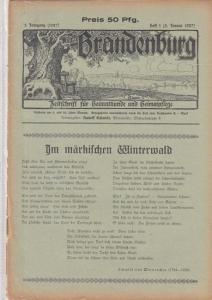 Brandenburg - Schmidt, Rudolf (Hrsg.) - Schmidt von Werneuchen / Rudolf Schmidt / Franz Beritz / Gustav Holländer / Hermann Kügler (Autoren): Brandenburg. 5. Jahrgang (1927) - Heft 1 ( 5. Januar 1927 ). Zeitschrift für Heimatkunde und Heimatpflege. Inh...