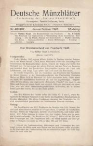"""Münzblätter, Deutsche - Tassilo Hoffmann (Hrsg.) - Walther Haupt / A. Schahl / Dr. ten Wolde / Walther Giesecke (Autoren): Deutsche Münzblätter. 63. Jahrgang - Nr. 481/482 - Januar/Februar 1943. (Fortsetzung der """"Berliner Münzblätter""""). Herau..."""