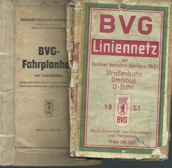 Berliner Verkehrs-Betriebe (BVG). - BVG-Fahrplanheft mit Linienbildern, ersten und letzten Zügen auf der U-Bahn und des Sonnabend-Spätverkehrs auf den Linien der BVG. Stand am 1.Mai 1951. Dabei BVG -Liniennetz der Berliner Verkehrs-Betriebe (Straßenbah...