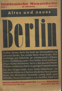 Monatshefte, Süddeutsche: Süddeutsche Monatshefte. Heft 7. Jahrgang 28. April 1931: Altes und neues Berlin.