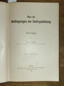 Andrée, K.: Über die Bedingungen der Gebirgsbildung. Vorträge. Mit Vorwort.
