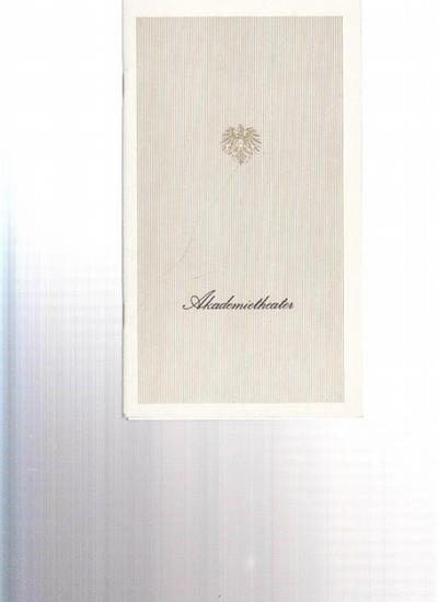 Hrsg. Akademietheater / Österreichische Bundestheaterverband Wien. Horvath, Ödon von . Heft 1. Stunde der Liebe. Mord in der Mohrengasse. Spielzeit 1980 / 1981 Heft 1. Mit Baur, Paul / Mittner, Karl / Brücklmeier, Inge / Adam, Marika / Gautier, Helma /...