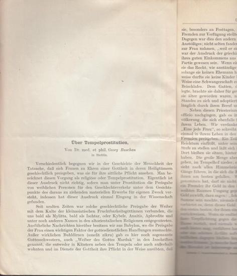 """Buschan, Georg: Über Tempelprostitution. (Sonderdruck aus """"Zeitschrift für Sexualwissenschaft und Sexualpolitik"""", XVIII. Band, 7. Heft)."""