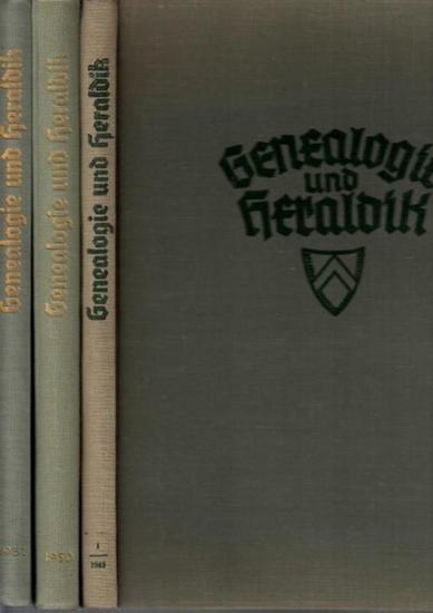 Genealogie und Heraldik.- / Gerhard Geßner (Hrsg.), Johannes Krauße, Ottfried Neubecker (Ltg.): Genealogie und Heraldik - Zeitschrift für Familiengeschichtsforschung und Wappenwesen. 3 Jahrgangsbände: 1. Jg. 1948/1949 Hefte 1/3 Okt./Dez. 1948 - Heft 12...
