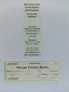 Cooper, James Fenimore (1789 - 1851): Signierter Bank-Scheck / Bankscheck / Bank-Cheque Otsego County Bank, Cooperstown.