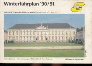 Berliner Verkehrs-Betriebe (BVG). - BVG - Berliner Verkehrs-Betriebe. Winterfahrplan 1990 / 1991: Tarifinformationen, BVG-Personenschiffahrt, U-Bahn, S-Bahn, Omnibus, besondere Verkehrsverbindungen. Gültig ab 30. September 1990.