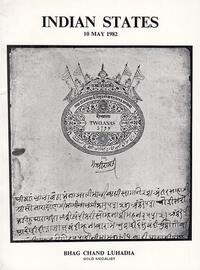 Bhag Chand Luhadia (Ed.): Indian States. (Fiscal Philatelic items of the Indian States & Estates). Catalogue for Sale 7.