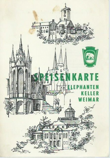 Weimar. - Elephantenkeller. - Speisekarte. - Speisenkarte Elephanten Keller Weimar.