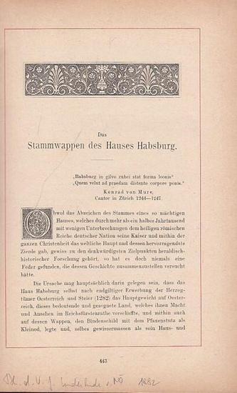 Habsburg. - Pettenegg, Eduard Gaston Graf von: Das Stammwappen des Hauses Habsburg. Sonderdruck aus Blätter des Vereins für Landeskunde von Niederösterreich.