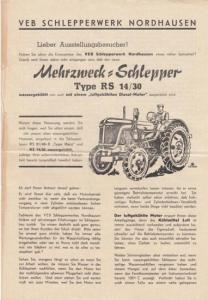 VEB Schlepperwerk Nordhausen. - Mehrzweck - Schlepper. Type RS 14 / 30. Werbeblatt.
