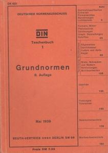 DIN Taschenbuch. - Hrsg.: Deutscher Normenausschuss. - DIN Taschenbuch 1. Grundnormen. Aus dem Inhalt: Dezimalklassifikation, Einheiten, Formelzeichen, Niete, Schrauben und Muttern, Schlüsselweiten, Passungen, Toleranzen.