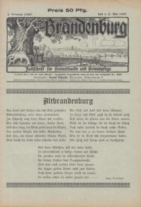 Brandenburg. - Schmidt, Rudolf (Herausgeber): Brandenburg. Jahrgang 6, Heft 9 (5. Mai 1928). Zeitschrift für Heimatkunde und Heimatpflege.