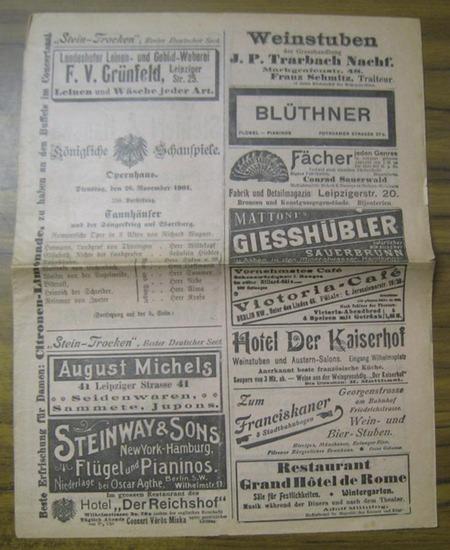 Berlin. - Königliche Schauspiele, Opernhaus. - Wagner, Richard. - Tannhäuser. Besetzungszettel. Mitwirkende: die Herren Wittekopf, Hoffmann, Sylva, Sommer, Rebe u. a. sowie Fräulein Hiedler, Plaichinger, Urbanska u. a.