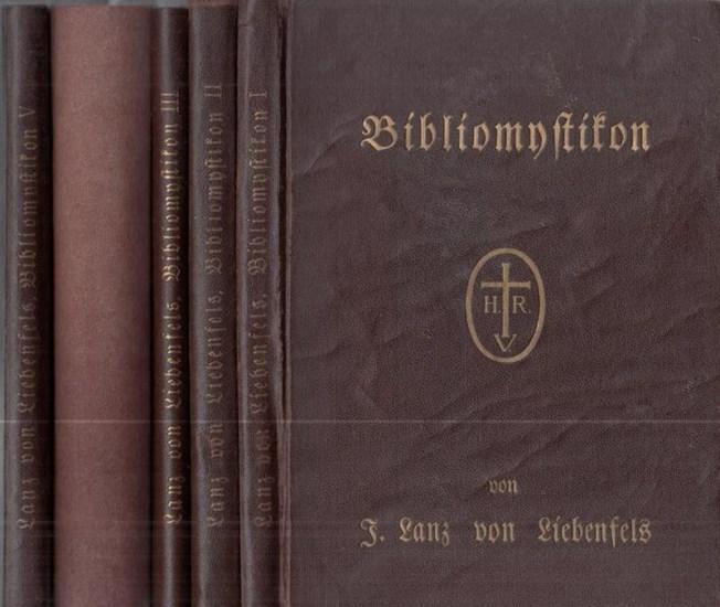 Lanz von Liebenfels, Jörg: Bibliomystikon oder die Geheimbibel der Eingeweihten. 1. Band: Anthropozoikon. 2. Bd.: Dömonozoikon. 3. Band: Theozoikon. 4. Band, 1. Teil: Introduktion in die ariosophische Esoterik des Alten und Neuen Testaments. 4. Band, 2...