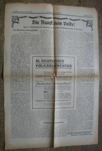 Würzburg. - Deutsche Volksbühnenbereine. - Die Kunst dem Volke ! Zum 11. Verbandstag der Deutschen Volksbühnenbereine in Würzburg ! In: Französischer Volksfreund. Samstag, den 27. Juni 1931. Nummer 144.