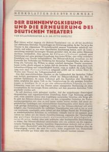 Boelitz, Otto: Der Bühnenvolksbund und die Erneuerung des Deutschen Theaters ( = Merkblätter des BVB Nummer 5 ).