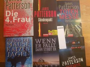 Patterson, James: Konvolut mit 5 TB und 1 Hardcover: 1.Todesbote. 2.Wenn er fällt, dann stirbt er. 3.Wenn die Mäuse Katzen jagen. 4.Totenmesse. 5. Sündenpakt. 6.Die vierte Frau.