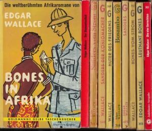 Wallace, Edgar: Afrika - Konvolut, bestehend aus 9 Titeln und 1 Beigabe. Enthalten: Bones in Afrika / Leutnant Bones / Bones vom Strom / Sanders / Bosambo / Hüter des Friedens / Sanders der Königmacher (Königsmacher) / Sanders vom Strom ( = Goldmanns G...