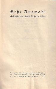 Eckert, Ernst Richard: Erste Auswahl. Gedichte.